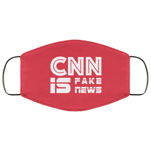 Load image into Gallery viewer, Designs by MyUtopia Shout Out:CNN is Fake News Trump Humor Adult Fabric Face Mask with Elastic Ear Loops,3 Layer Fabric Face Mask / Red / Adult,Fabric Face Mask
