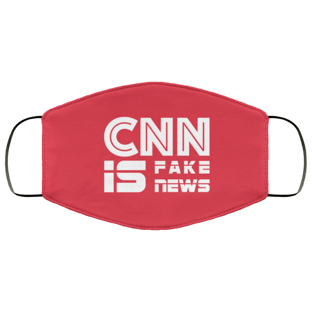 Designs by MyUtopia Shout Out:CNN is Fake News Trump Humor Adult Fabric Face Mask with Elastic Ear Loops,3 Layer Fabric Face Mask / Red / Adult,Fabric Face Mask