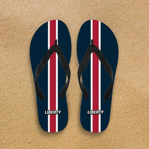 Designs by MyUtopia Shout Out:Collector Flip Flops Liberty,Men's / Men's Small (US 7-8 /EU 40-42) / Blue/Red,Flip Flops