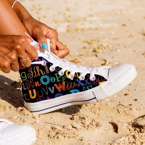 Designs by MyUtopia Shout Out:Colorful Alphabet Grade School Teacher Canvas High Top Shoes,Women's / Ladies 6 (EU36) / Multicolor,High Top Sneakers