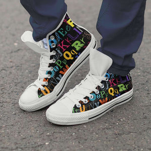 Designs by MyUtopia Shout Out:Colorful Alphabet Grade School Teacher Canvas High Top Shoes,Men's / Men's US 8 (EU40) / Multicolor,High Top Sneakers