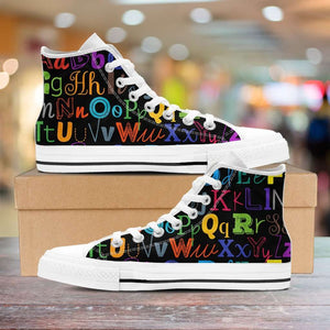 Designs by MyUtopia Shout Out:Colorful Alphabet Grade School Teacher Canvas High Top Shoes