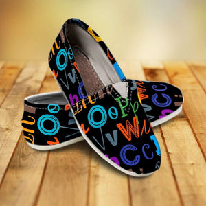 Designs by MyUtopia Shout Out:Colorful Alphabet Grade School Teacher Casual Canvas Slip on Shoes Women's Flats