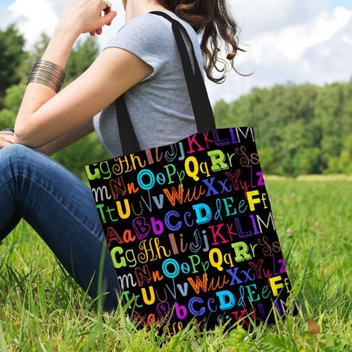 Designs by MyUtopia Shout Out:Colorful Alphabet Grade School Teacher Fabric Totebag Reusable Shopping Tote