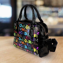 Load image into Gallery viewer, Designs by MyUtopia Shout Out:Colorful Alphabet Grade School Teacher Faux Leather Handbag with Shoulder Strap