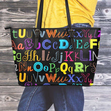 Load image into Gallery viewer, Designs by MyUtopia Shout Out:Colorful Alphabet Grade School Teacher Faux Leather Totebag Purse,Medium (10 x 16 x 5) / Multicolor,tote bag purse