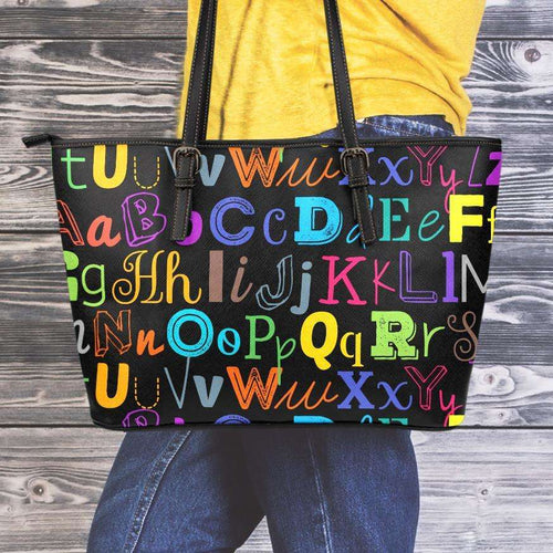 Designs by MyUtopia Shout Out:Colorful Alphabet Grade School Teacher Faux Leather Totebag Purse,Medium (10 x 16 x 5) / Multicolor,tote bag purse