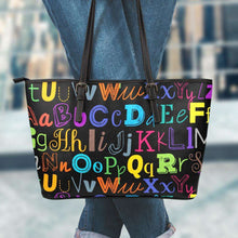 Load image into Gallery viewer, Designs by MyUtopia Shout Out:Colorful Alphabet Grade School Teacher Faux Leather Totebag Purse,Large (11 x 17 x 6) / Multicolor,tote bag purse