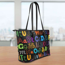 Load image into Gallery viewer, Designs by MyUtopia Shout Out:Colorful Alphabet Grade School Teacher Faux Leather Totebag Purse