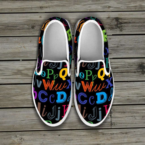 Designs by MyUtopia Shout Out:Colorful Alphabet Grade School Teacher Slip-on Shoes,Women's / Ladies US6 (EU36) / Black,Slip on sneakers