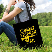 Load image into Gallery viewer, Designs by MyUtopia Shout Out:Combat Veteran Iraq Fabric Totebag Reusable Shopping Tote