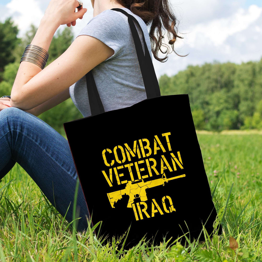 Designs by MyUtopia Shout Out:Combat Veteran Iraq Fabric Totebag Reusable Shopping Tote