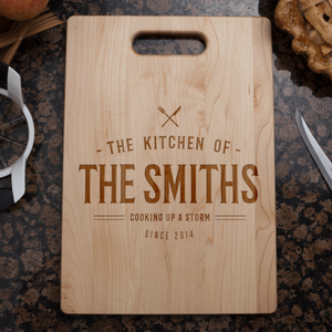 Designs by MyUtopia Shout Out:Cooking up A Storm Personalized with Family Name and Year Cutting Board,🌟  Best Value 9 3/4″ X 13.5″,Cutting Board