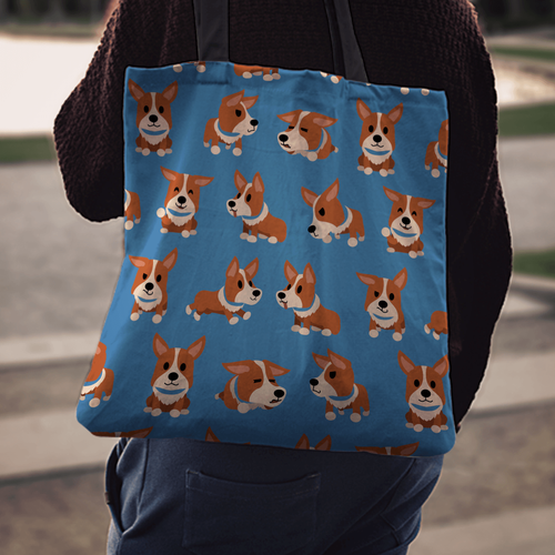 Designs by MyUtopia Shout Out:Corgi Fabric Totebag Reusable Shopping Tote