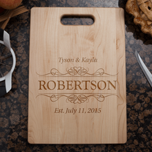 Load image into Gallery viewer, Designs by MyUtopia Shout Out:Couple Established Personalized Engraved with Names and Date  Maple Cutting Board,🌟  Best Value 9 3/4″ X 13.5″,Cutting Board