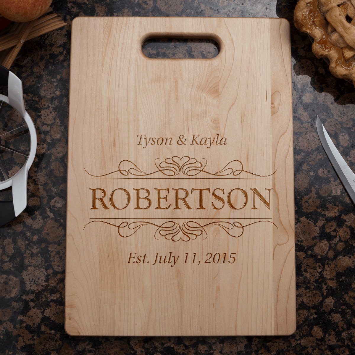 Designs by MyUtopia Shout Out:Couple Established Personalized Engraved with Names and Date  Maple Cutting Board,🌟  Best Value 9 3/4″ X 13.5″,Cutting Board
