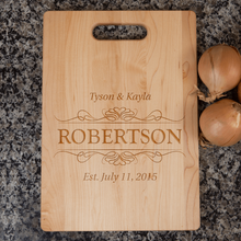 Load image into Gallery viewer, Designs by MyUtopia Shout Out:Couple Established Personalized Engraved with Names and Date  Maple Cutting Board