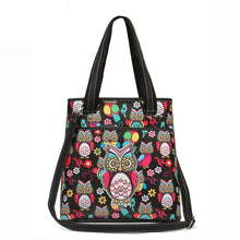 Load image into Gallery viewer, Designs by MyUtopia Shout Out:Cowgirl Trendy Colorful Sugar Skull Owl and flowers All OverPrint Top Handle Totebag Purse,Black,Handbag Purse