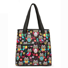 Load image into Gallery viewer, Designs by MyUtopia Shout Out:Cowgirl Trendy Colorful Sugar Skull Owl and flowers All OverPrint Top Handle Totebag Purse