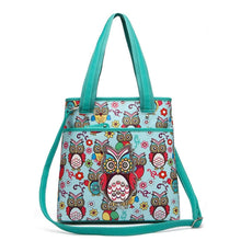 Load image into Gallery viewer, Designs by MyUtopia Shout Out:Cowgirl Trendy Colorful Sugar Skull Owl and flowers All OverPrint Top Handle Totebag Purse,Teal,Handbag Purse