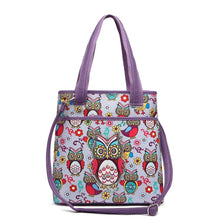 Load image into Gallery viewer, Designs by MyUtopia Shout Out:Cowgirl Trendy Colorful Sugar Skull Owl and flowers All OverPrint Top Handle Totebag Purse,Purple,Handbag Purse