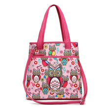 Load image into Gallery viewer, Designs by MyUtopia Shout Out:Cowgirl Trendy Colorful Sugar Skull Owl and flowers All OverPrint Top Handle Totebag Purse,Pink,Handbag Purse