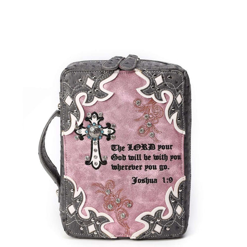 Designs by MyUtopia Shout Out:Cowgirl Trendy Cross and Josh 1:9 Bible Verse Bible Cover Protector Case with Handle