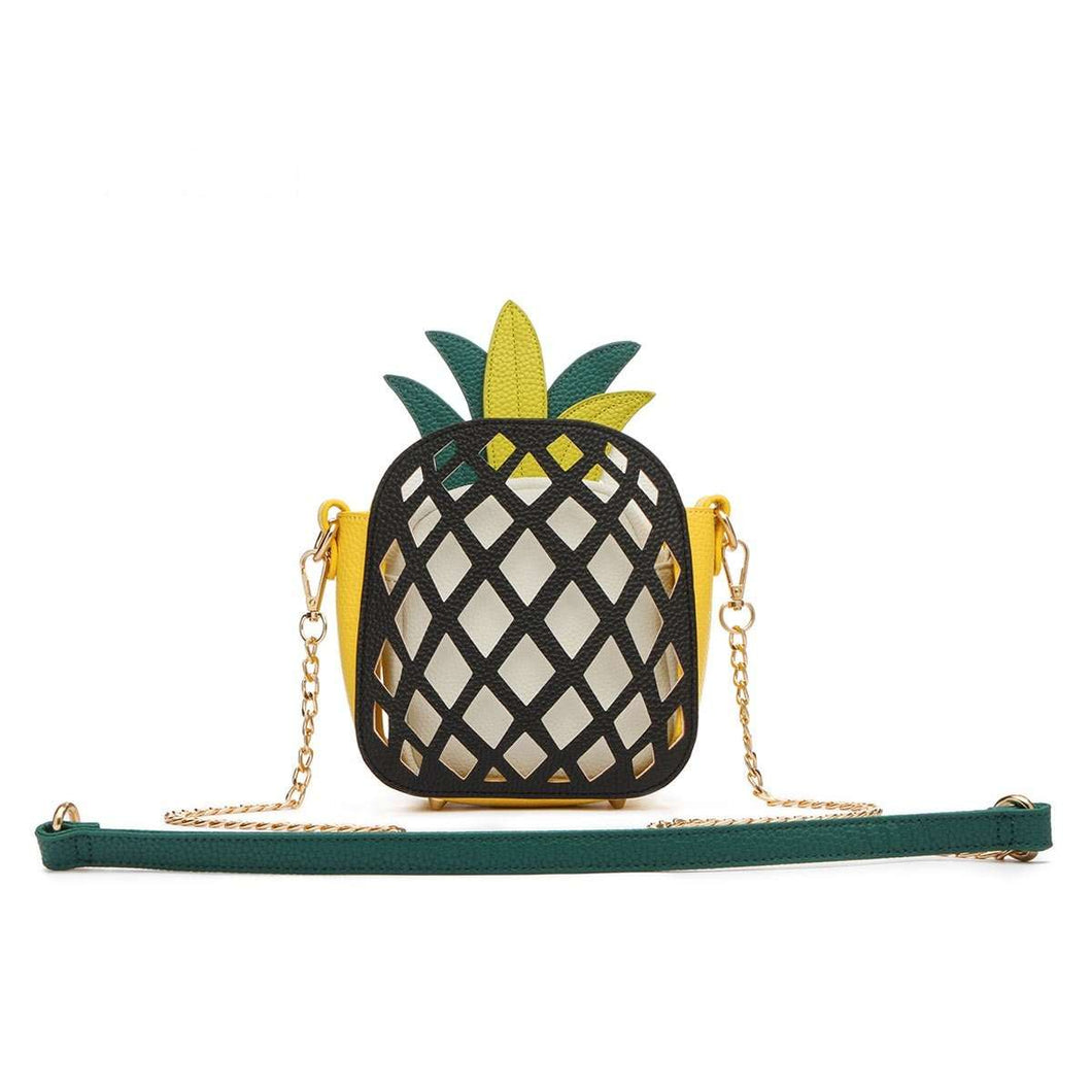 Designs by MyUtopia Shout Out:Cowgirl Trendy Cute Pineapple Fruit Mini Crossbody Bag,Black,Cross-Body Purse
