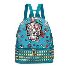Load image into Gallery viewer, Designs by MyUtopia Shout Out:Cowgirl Trendy Day of the Dead Purse Sugar Skull Bag Studded Fashion Backpack,Teal,Backpack Purse