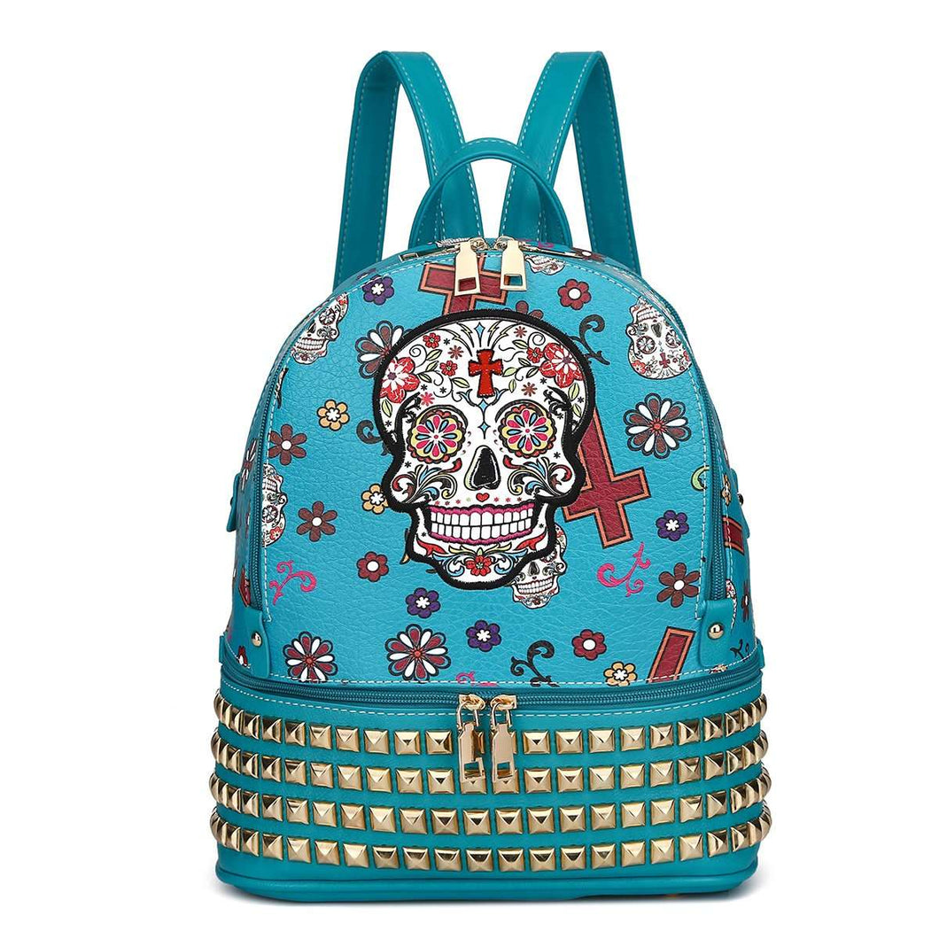 Designs by MyUtopia Shout Out:Cowgirl Trendy Day of the Dead Purse Sugar Skull Bag Studded Fashion Backpack,Teal,Backpack Purse