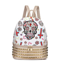 Load image into Gallery viewer, Designs by MyUtopia Shout Out:Cowgirl Trendy Day of the Dead Purse Sugar Skull Bag Studded Fashion Backpack,Gold,Backpack Purse