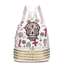 Load image into Gallery viewer, Designs by MyUtopia Shout Out:Cowgirl Trendy Day of the Dead Purse Sugar Skull Bag Studded Fashion Backpack,White,Backpack Purse