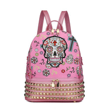 Load image into Gallery viewer, Designs by MyUtopia Shout Out:Cowgirl Trendy Day of the Dead Purse Sugar Skull Bag Studded Fashion Backpack,Pink,Backpack Purse
