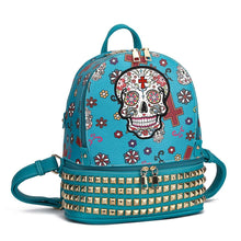 Load image into Gallery viewer, Designs by MyUtopia Shout Out:Cowgirl Trendy Day of the Dead Purse Sugar Skull Bag Studded Fashion Backpack