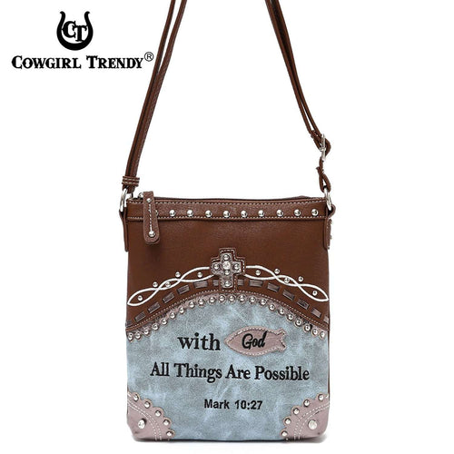 Designs by MyUtopia Shout Out:Cowgirl Trendy Mark 10:27 Bible Verse Cross Messenger Crossbody Conceal Carry Bag,Blue,Cross-Body Purse