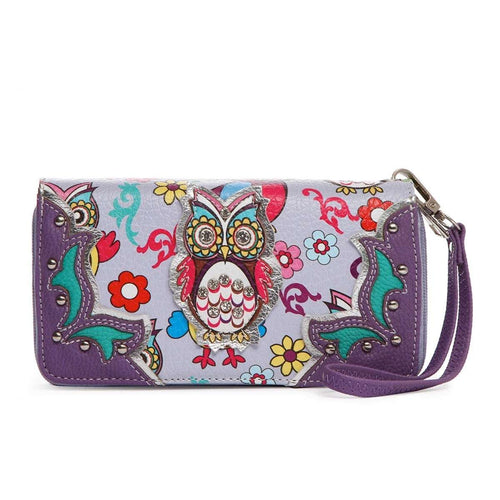 Designs by MyUtopia Shout Out:Cowgirl Trendy Multi Colorful Owl Print Western Wristlet Wallet,Purple,Clutch Wallet