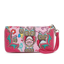 Load image into Gallery viewer, Designs by MyUtopia Shout Out:Cowgirl Trendy Multi Colorful Owl Print Western Wristlet Wallet,Pink,Clutch Wallet