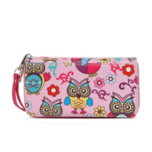 Load image into Gallery viewer, Designs by MyUtopia Shout Out:Cowgirl Trendy Multi Colorful Owl Print Western Wristlet Wallet