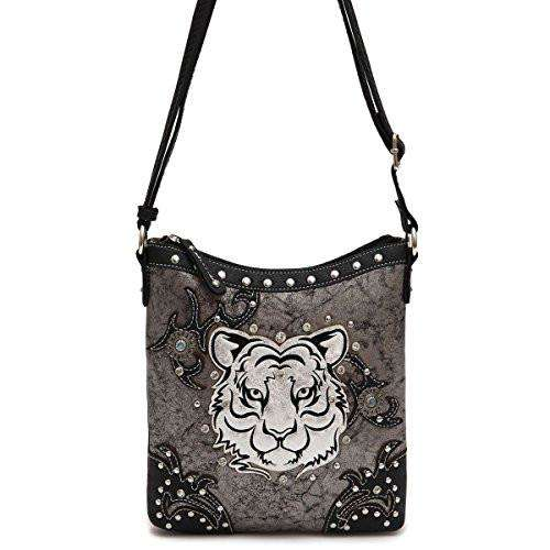 Designs by MyUtopia Shout Out:Cowgirl Trendy White Tiger Face Faux Leather Crossbody Bag,Black,Cross-Body Purse