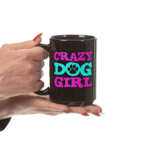 Designs by MyUtopia Shout Out:Crazy Dog Girl Ceramic Coffee Mug - Black