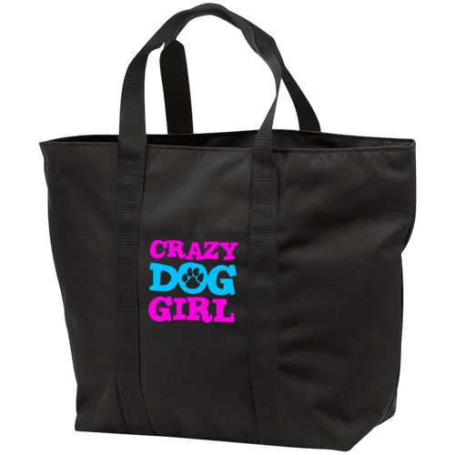 Designs by MyUtopia Shout Out:Crazy Dog Girl Embroidered Port & Co. All Purpose Tote Bag w Zipper Closure and side pocket,Black/Black / One Size,Totebag