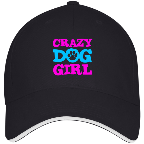 Designs by MyUtopia Shout Out:Crazy Dog Girl Embroidered USA Made Structured Twill Cap With Sandwich Visor,Navy/White / One Size,Hats