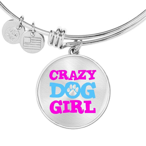 Designs by MyUtopia Shout Out:Crazy Dog Girl Engravable Keepsake Round Bangle Wire Bracelet
