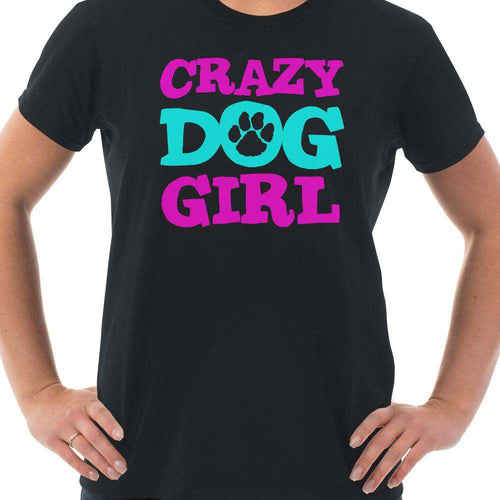 Designs by MyUtopia Shout Out:Crazy Dog Girl Ladies' 100% Cotton T-Shirt