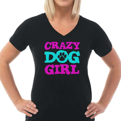 Designs by MyUtopia Shout Out:Crazy Dog Girl Ladies' V-Neck T-Shirt