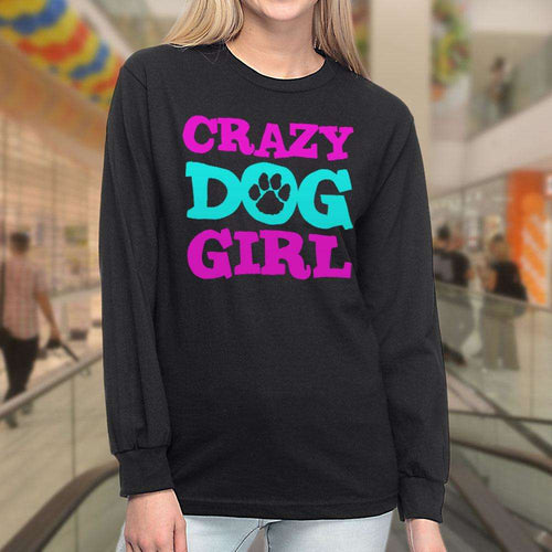 Designs by MyUtopia Shout Out:Crazy Dog Girl Long Sleeve Ultra Cotton T-Shirt