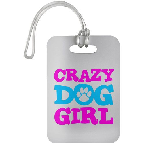 Designs by MyUtopia Shout Out:Crazy Dog Girl Luggage Bag Tag,White / One Size,Luggage Tags