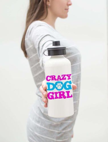 Designs by MyUtopia Shout Out:Crazy Dog Girl Stainless Steel Reusable Water Bottle