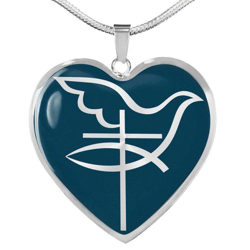 Designs by MyUtopia Shout Out:Cross Dove Fish Christian Faith Personalized Engravable Keepsake Heart Necklace