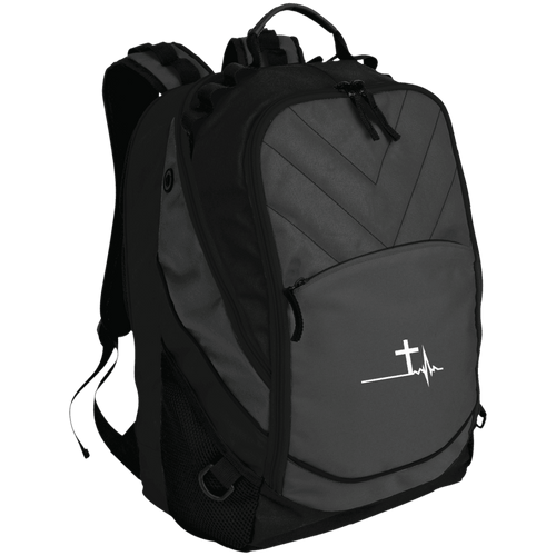 Designs by MyUtopia Shout Out:Cross Heartbeat Embroidered Laptop Computer Backpack,Dark Charcoal/Black / One Size,Bags